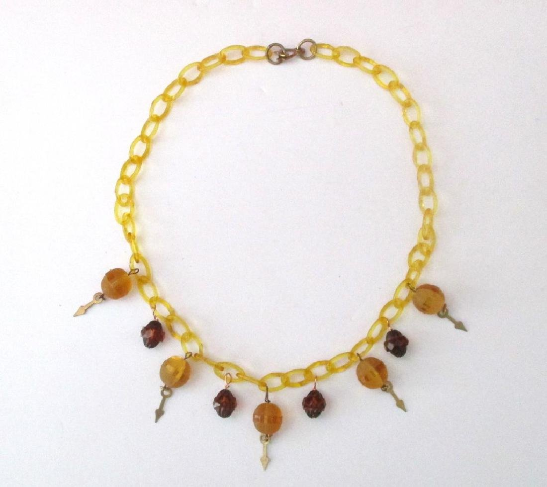 Vintage Celluloid & Glass Necklace from the 1930's - 3