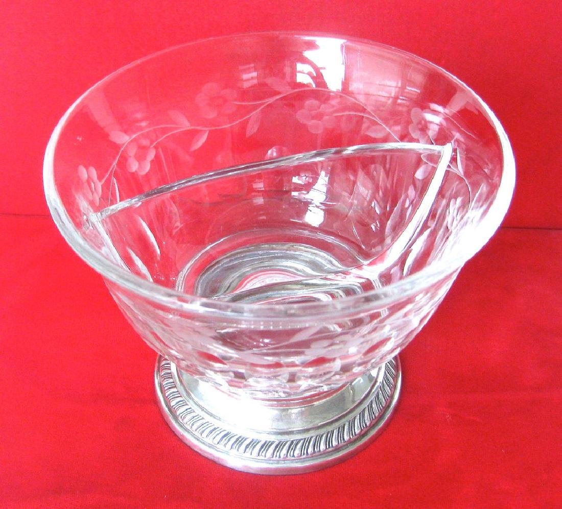 Heisey Crystal and Sterling Silver Divided Bowl