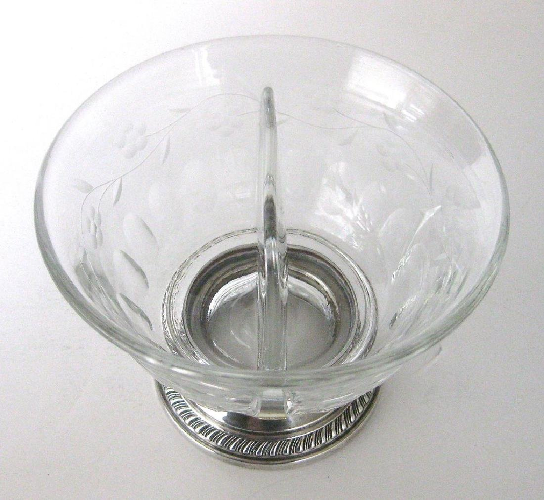 Heisey Crystal and Sterling Silver Divided Bowl - 2