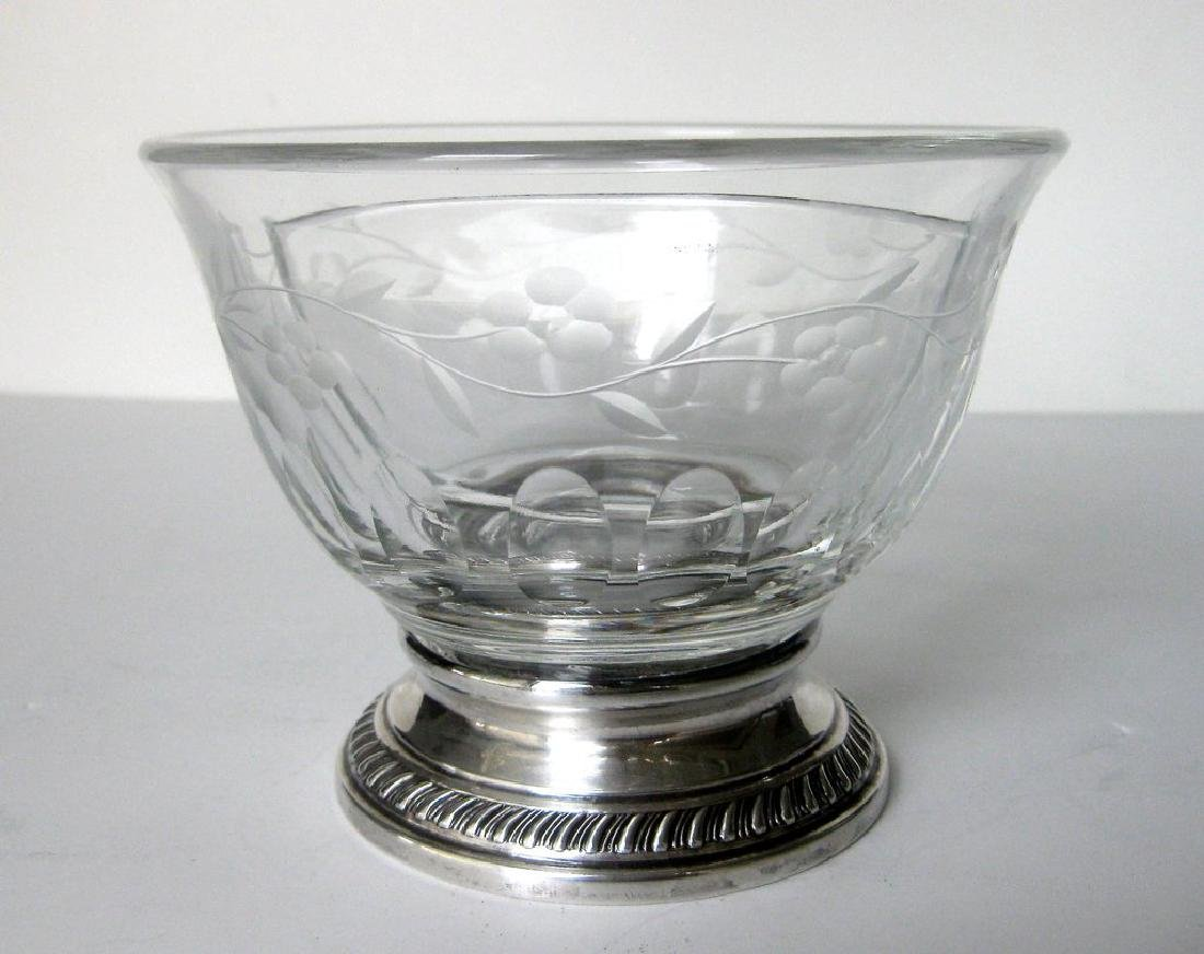 Heisey Crystal and Sterling Silver Divided Bowl - 3