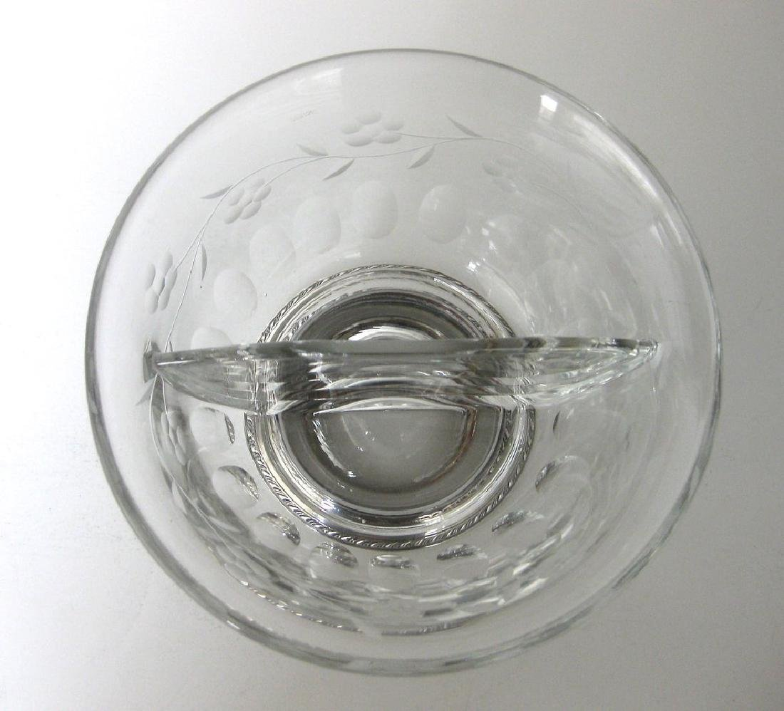 Heisey Crystal and Sterling Silver Divided Bowl - 6