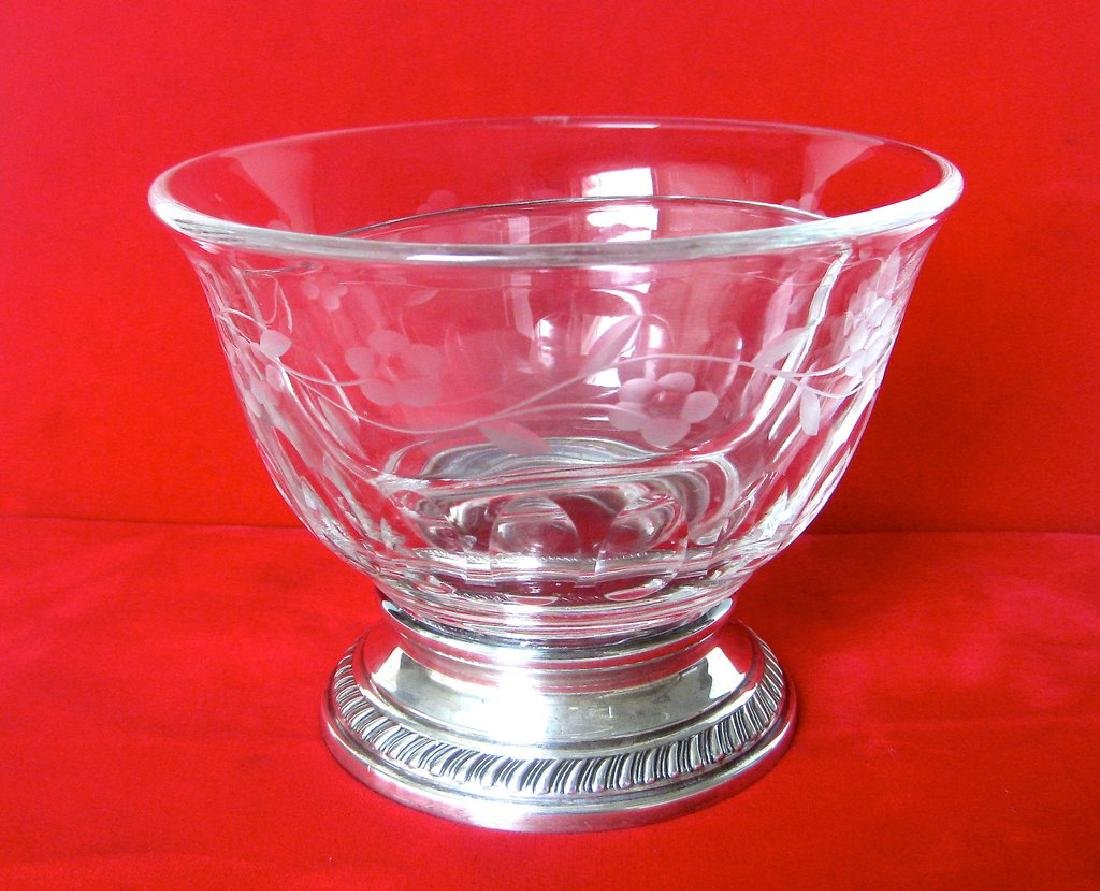 Heisey Crystal and Sterling Silver Divided Bowl - 7