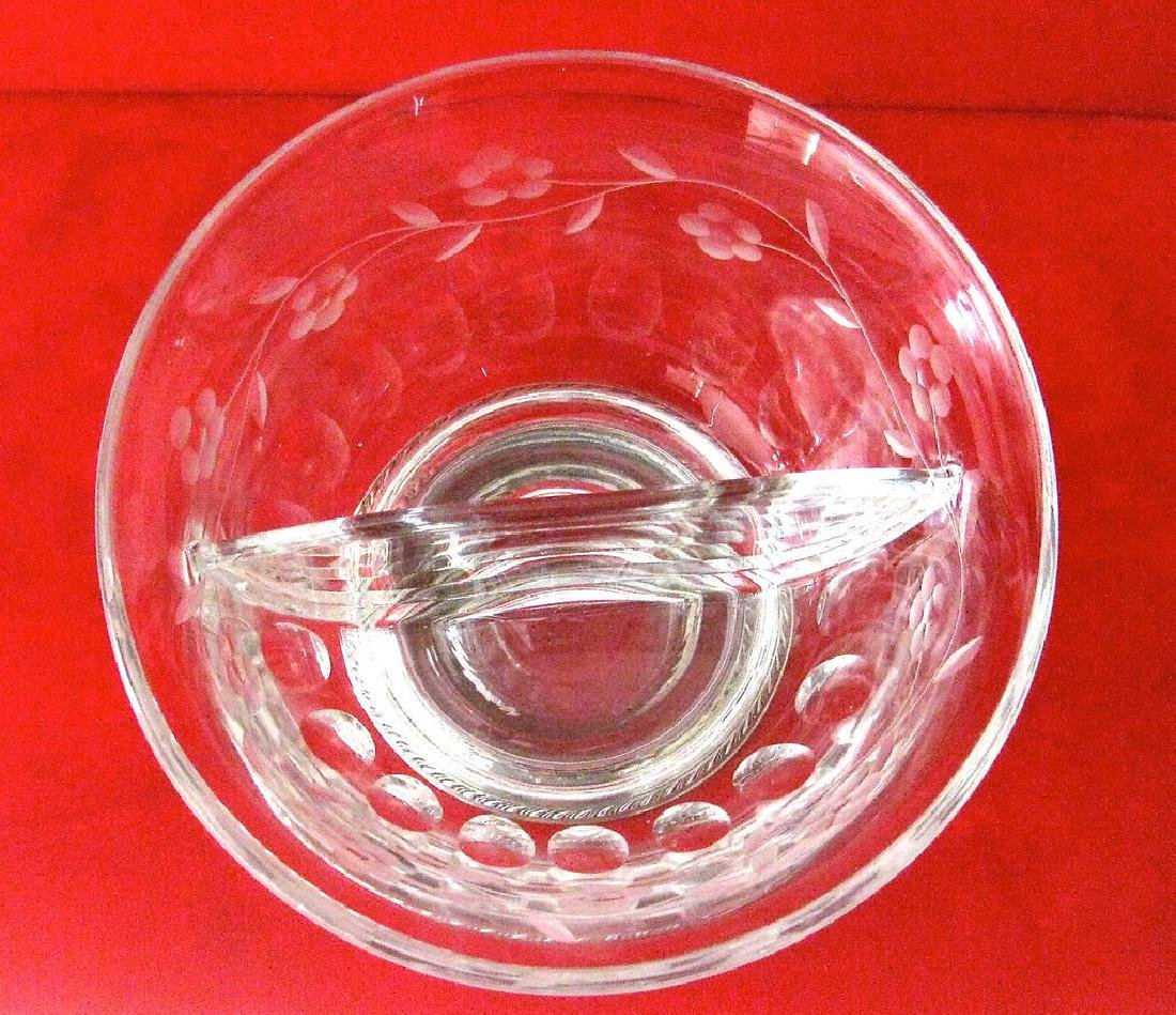 Heisey Crystal and Sterling Silver Divided Bowl - 8