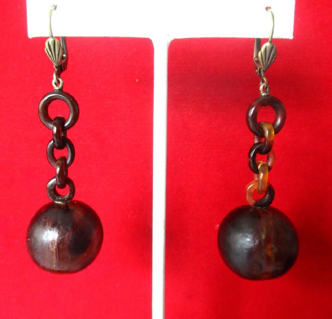 Pair of Victorian Tortoise Shell Drop Earrings