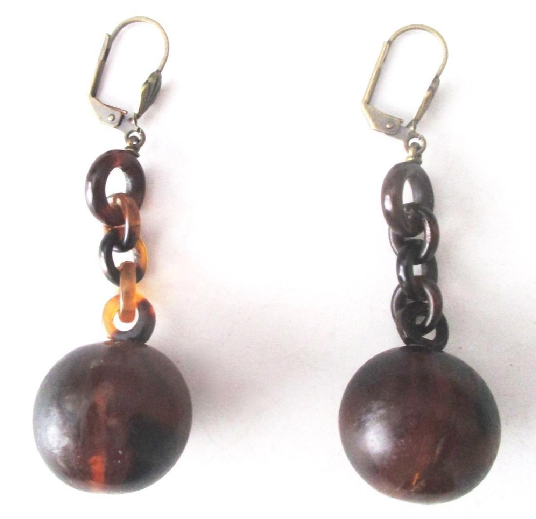 Pair of Victorian Tortoise Shell Drop Earrings - 2