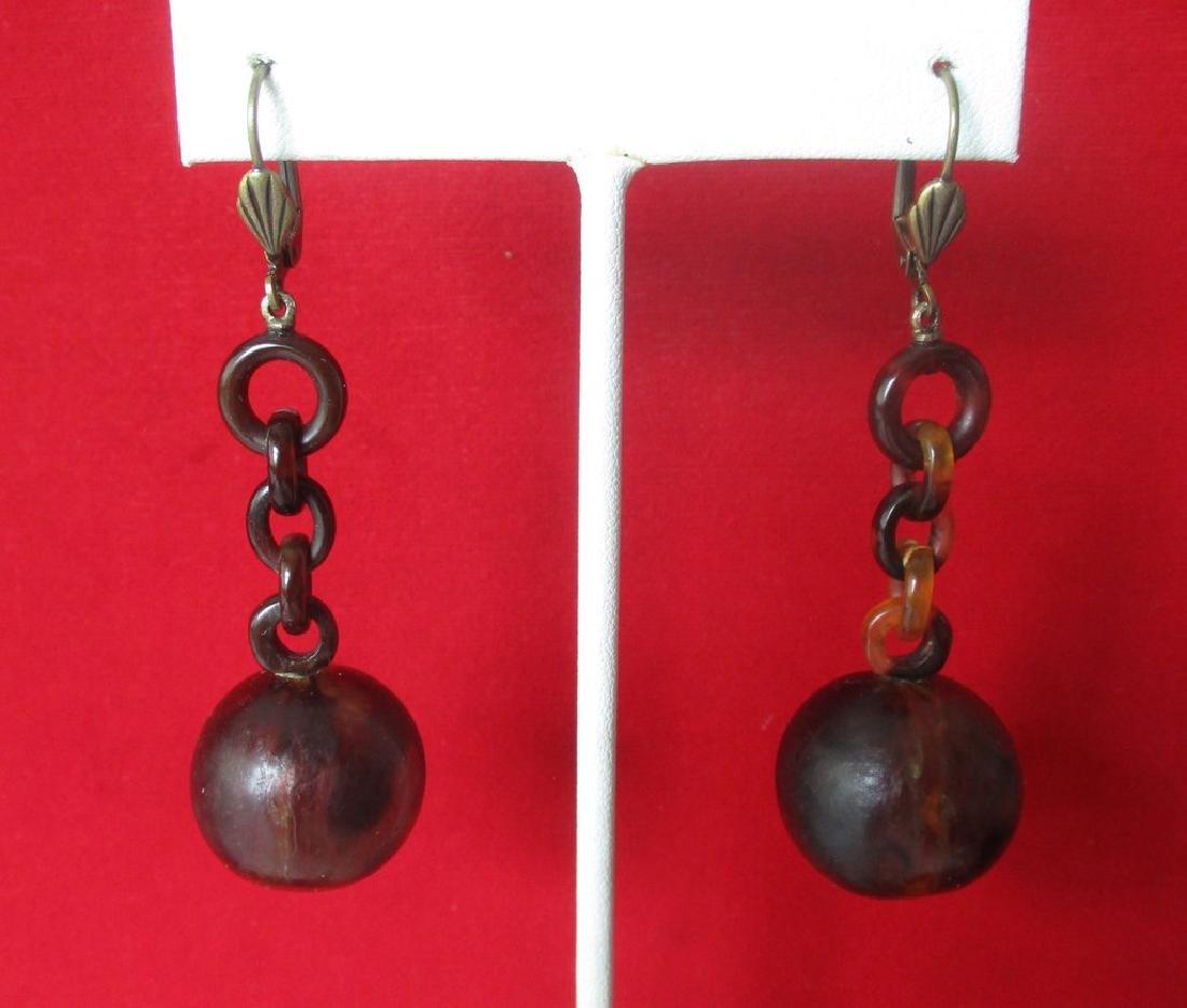 Pair of Victorian Tortoise Shell Drop Earrings - 3