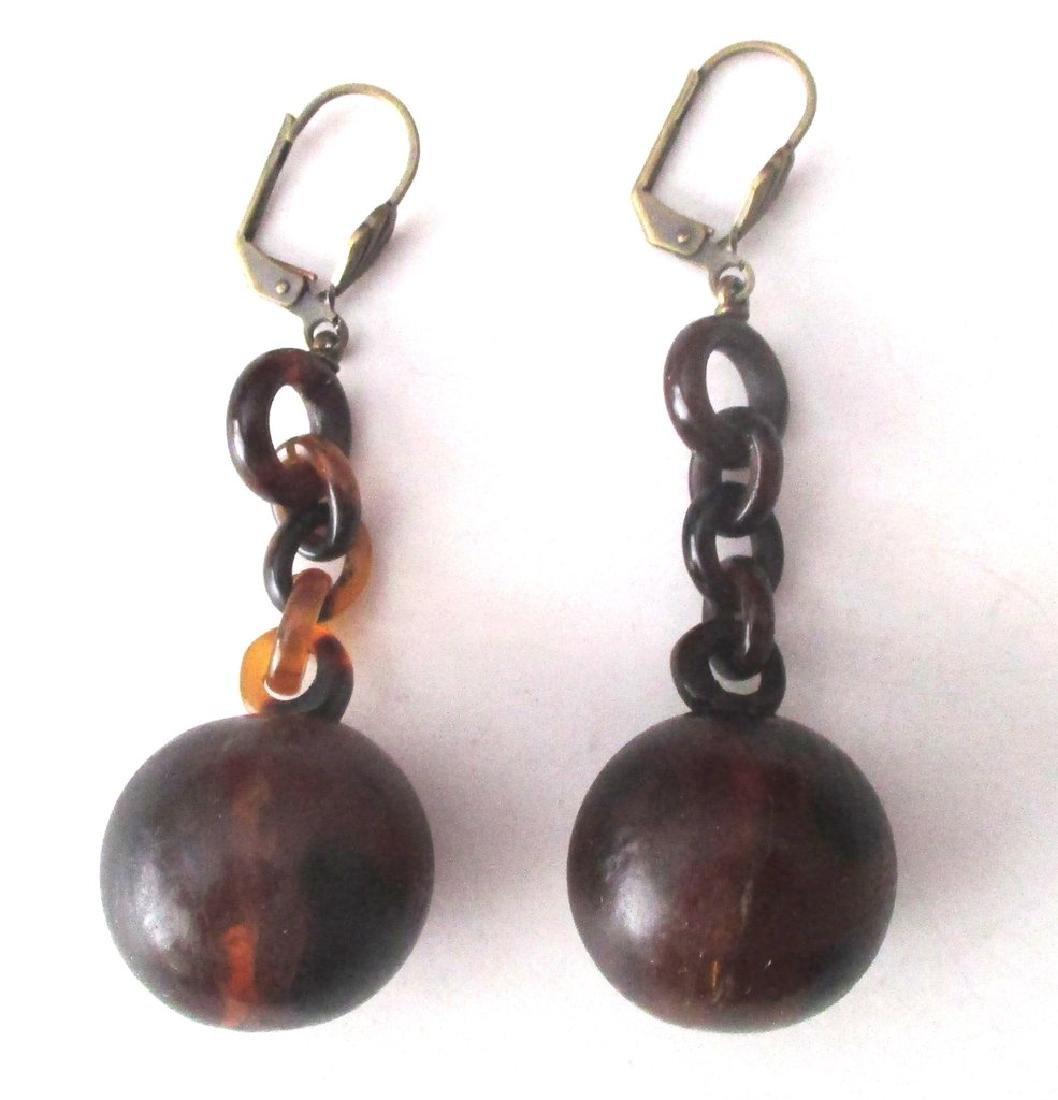 Pair of Victorian Tortoise Shell Drop Earrings - 4
