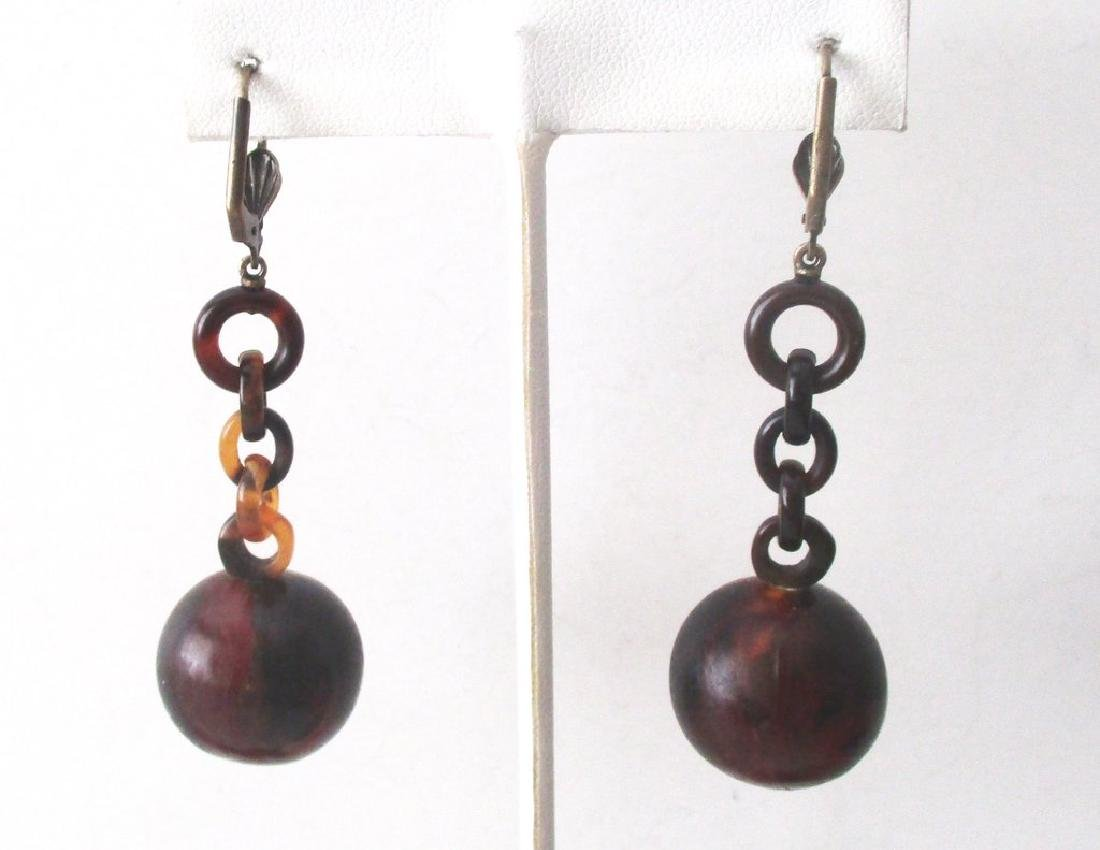 Pair of Victorian Tortoise Shell Drop Earrings - 5
