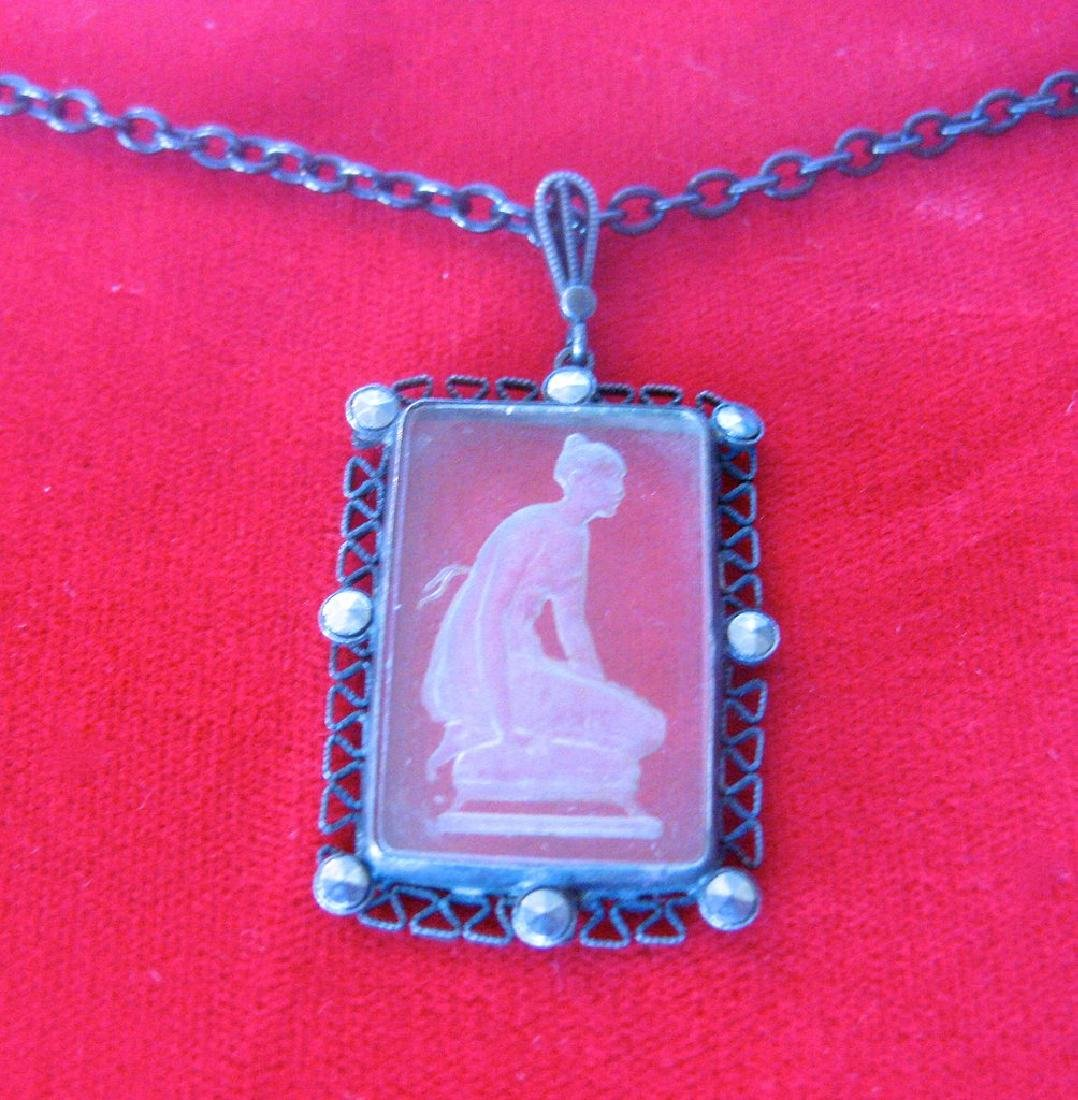 Antique Gunmetal Chain With Acid-Etched Pendant