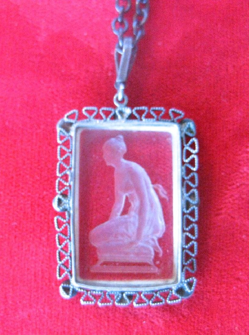 Antique Gunmetal Chain With Acid-Etched Pendant - 2