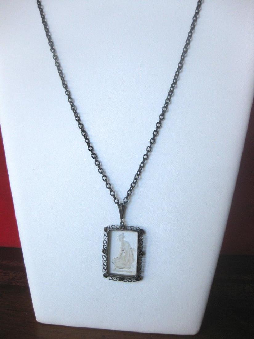 Antique Gunmetal Chain With Acid-Etched Pendant - 5
