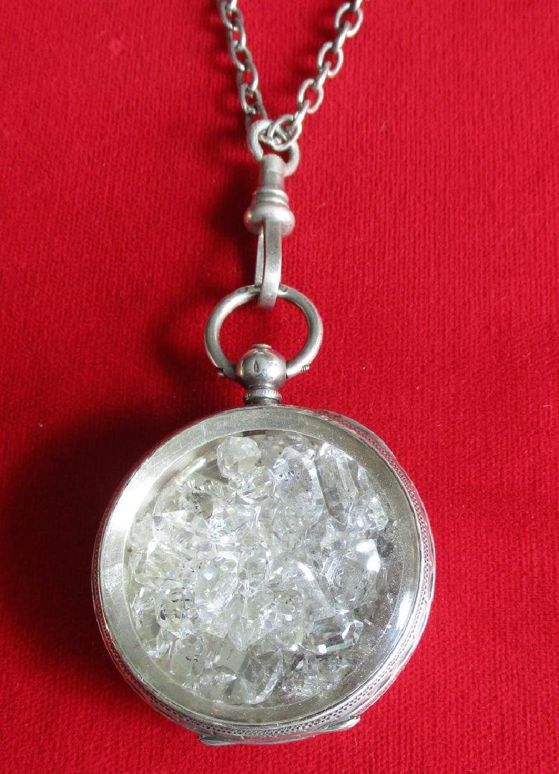 """Antique Sterling Silver """"Herkimer Diamond"""" Pendant With"""