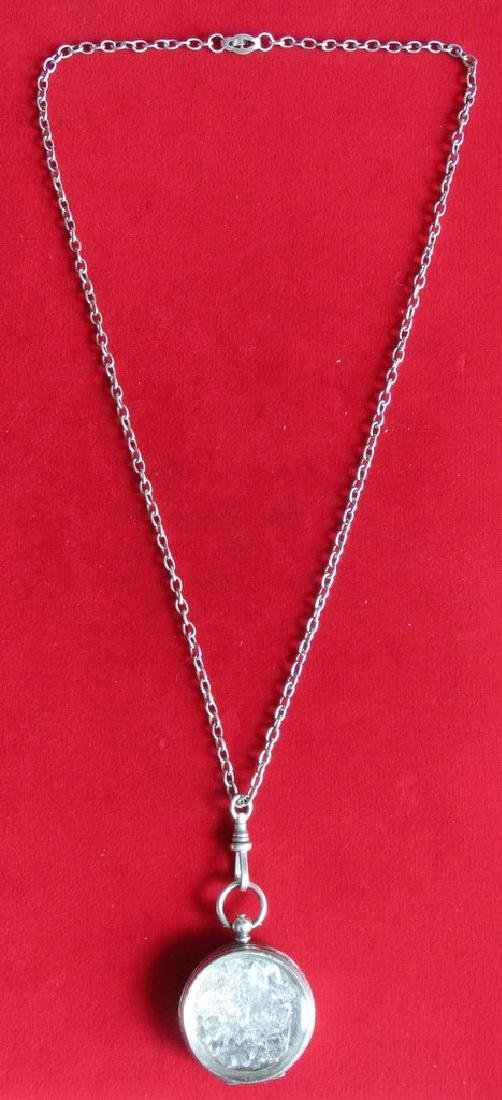 """Antique Sterling Silver """"Herkimer Diamond"""" Pendant With - 3"""