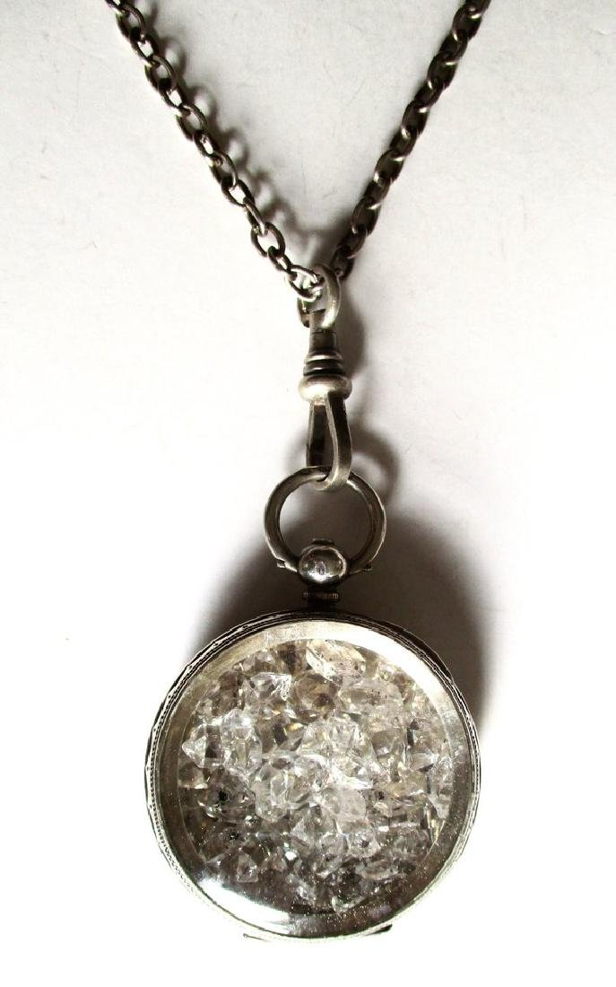 """Antique Sterling Silver """"Herkimer Diamond"""" Pendant With - 4"""