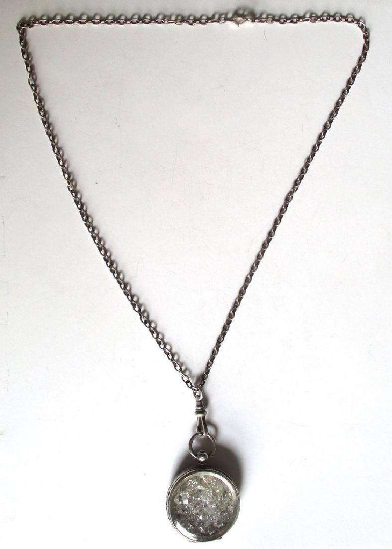 """Antique Sterling Silver """"Herkimer Diamond"""" Pendant With - 5"""