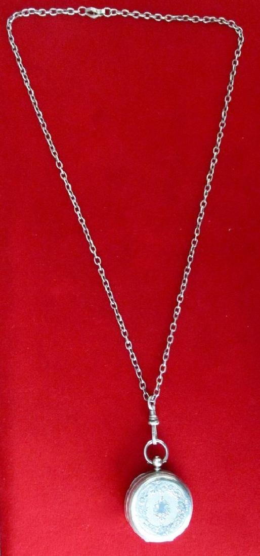 """Antique Sterling Silver """"Herkimer Diamond"""" Pendant With - 6"""