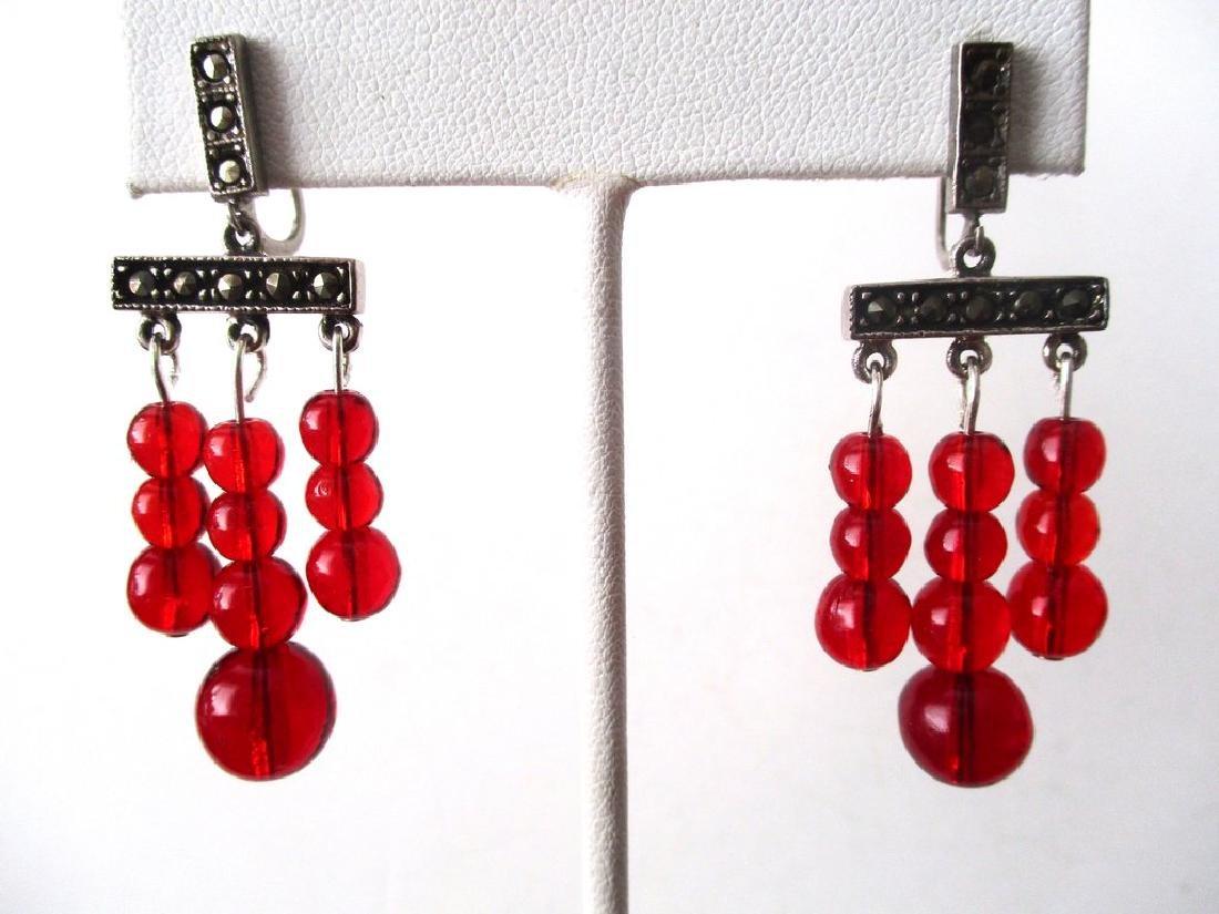 Pair of Vintage Screw-Back Sterling Silver & Red