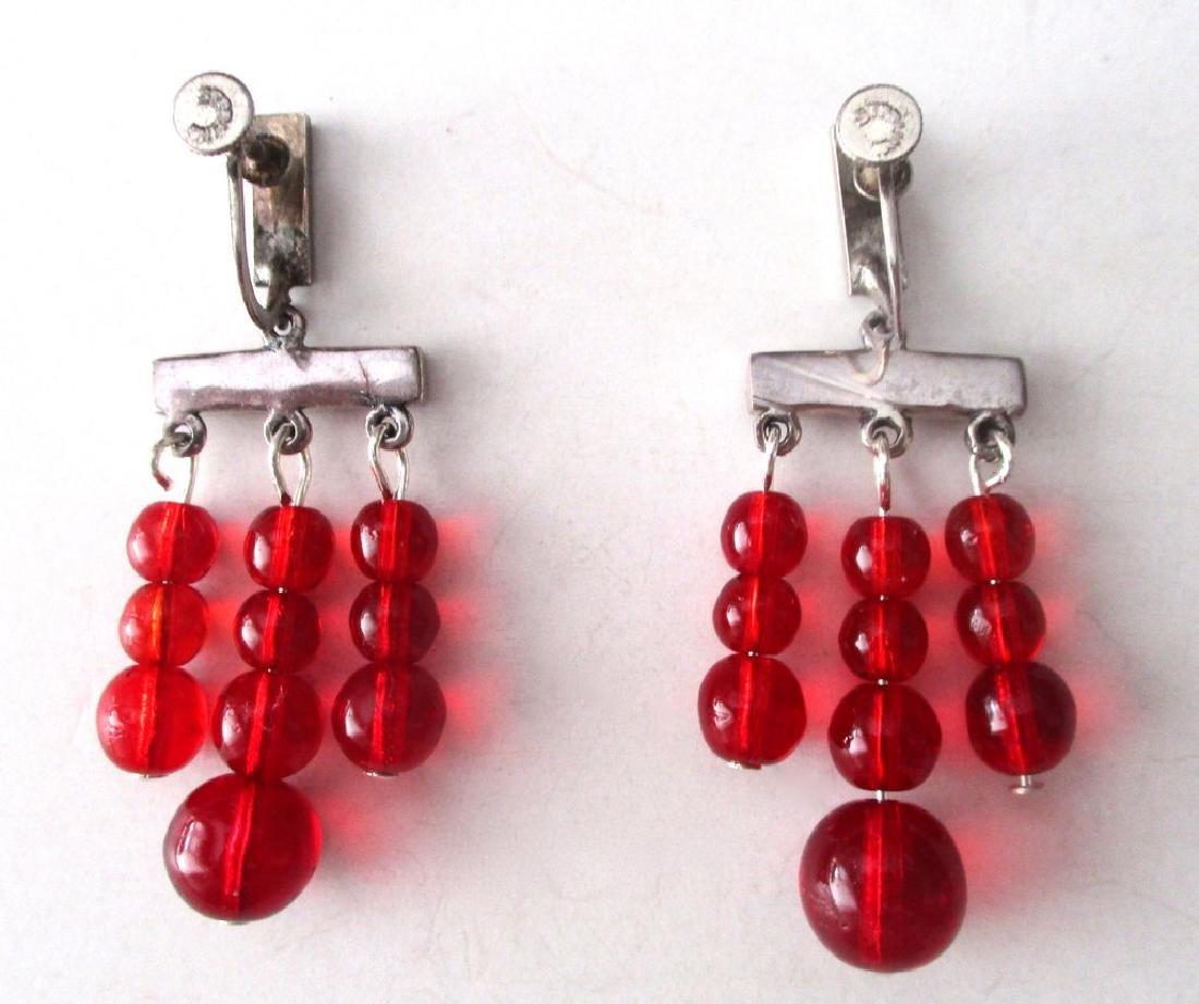 Pair of Vintage Screw-Back Sterling Silver & Red - 2