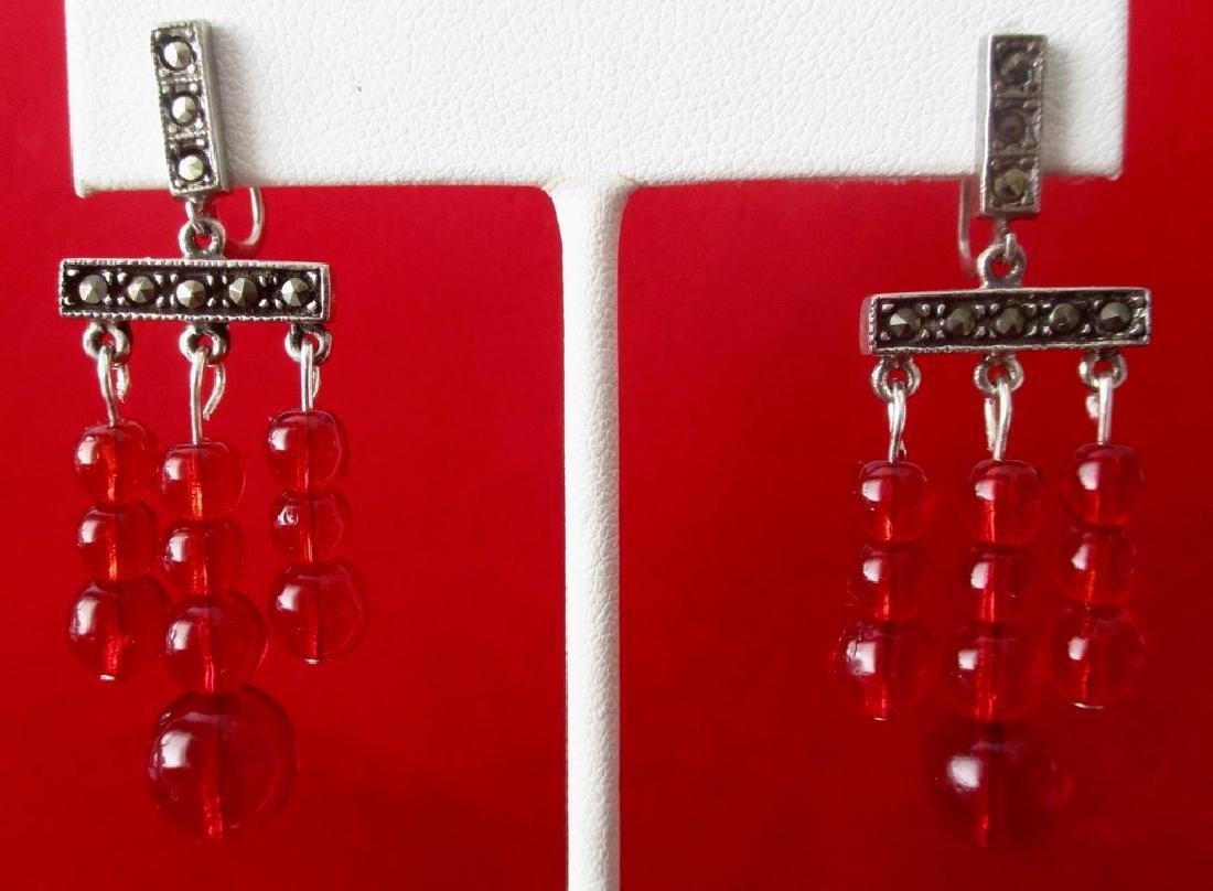 Pair of Vintage Screw-Back Sterling Silver & Red - 3