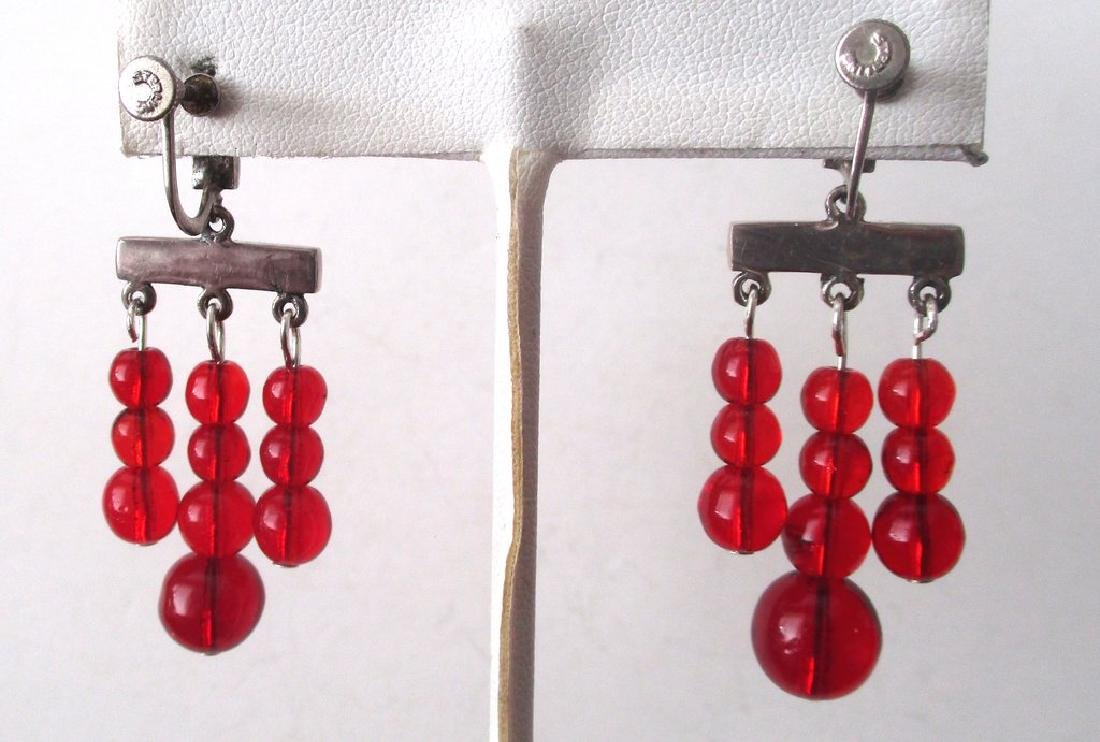 Pair of Vintage Screw-Back Sterling Silver & Red - 4