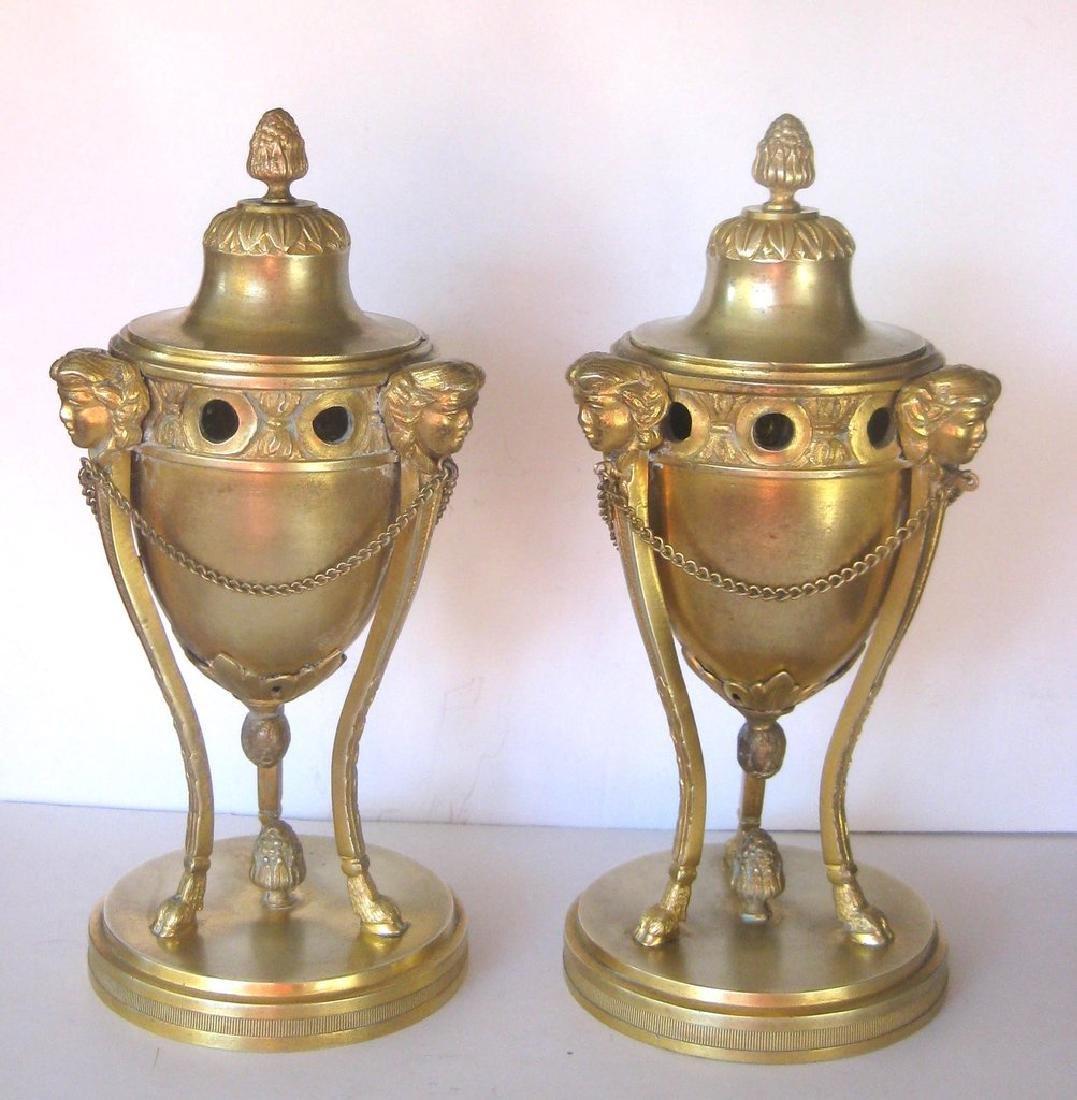 Pair of 18th Century Louis XVI Bronze Dore Cassolettes