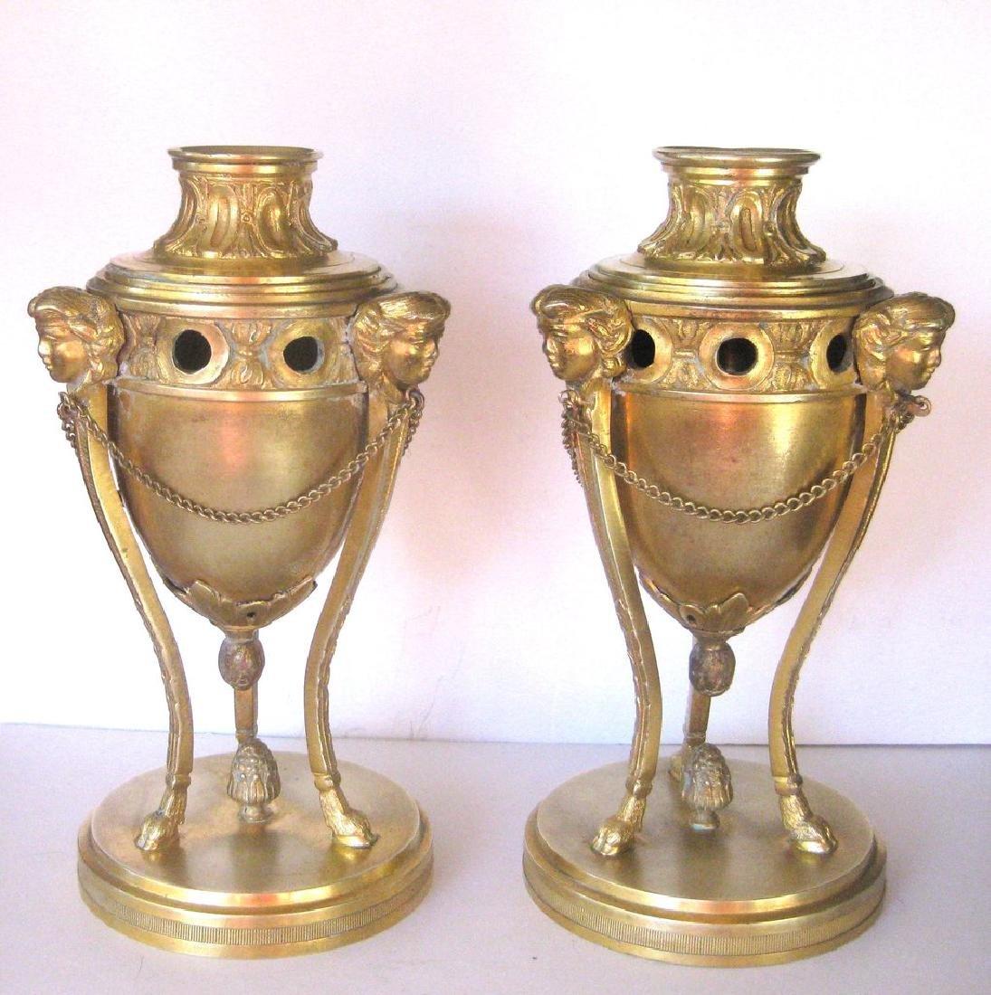 Pair of 18th Century Louis XVI Bronze Dore Cassolettes - 2