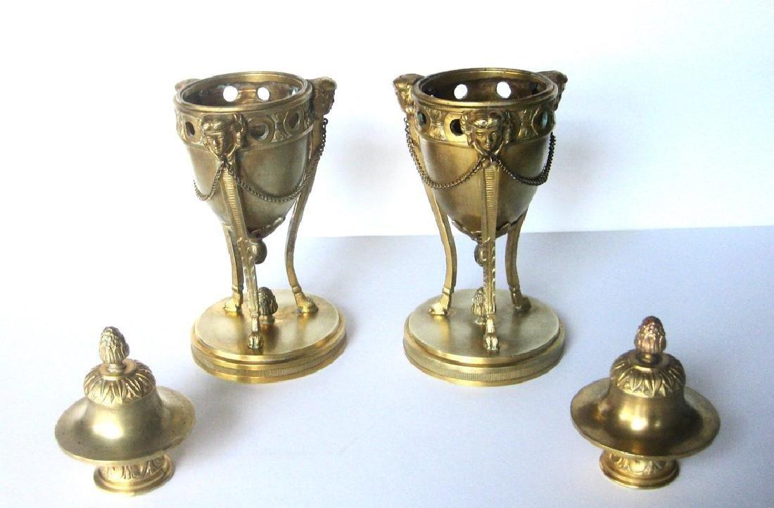 Pair of 18th Century Louis XVI Bronze Dore Cassolettes - 5