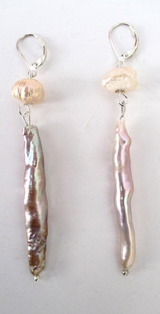Pair of Baroque Stick-Pearl Earrings With Sterling - 2