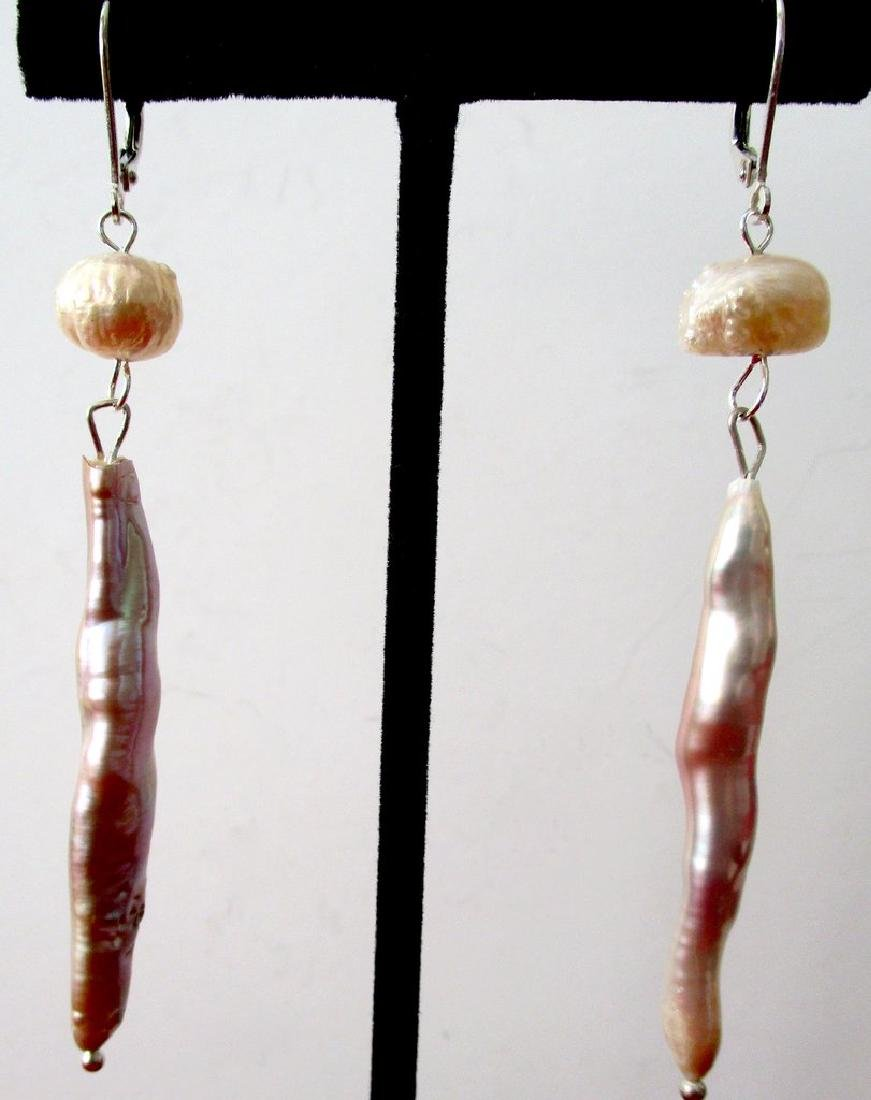 Pair of Baroque Stick-Pearl Earrings With Sterling - 4