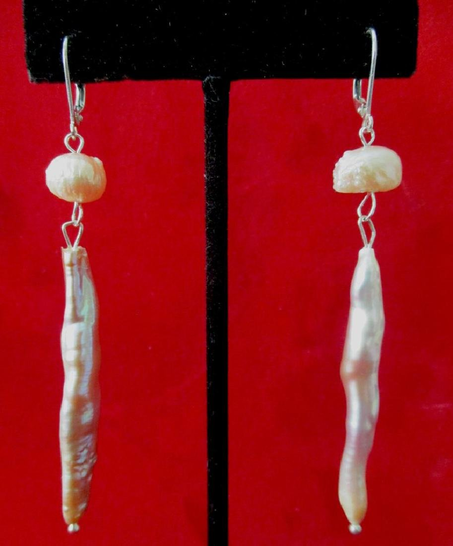 Pair of Baroque Stick-Pearl Earrings With Sterling - 5