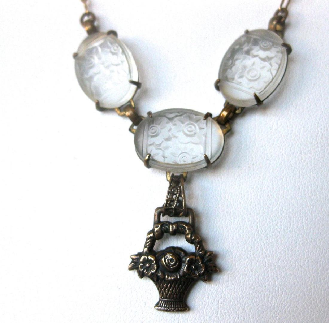Victorian Etched Glass Necklace