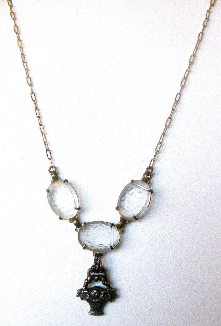 Victorian Etched Glass Necklace - 2