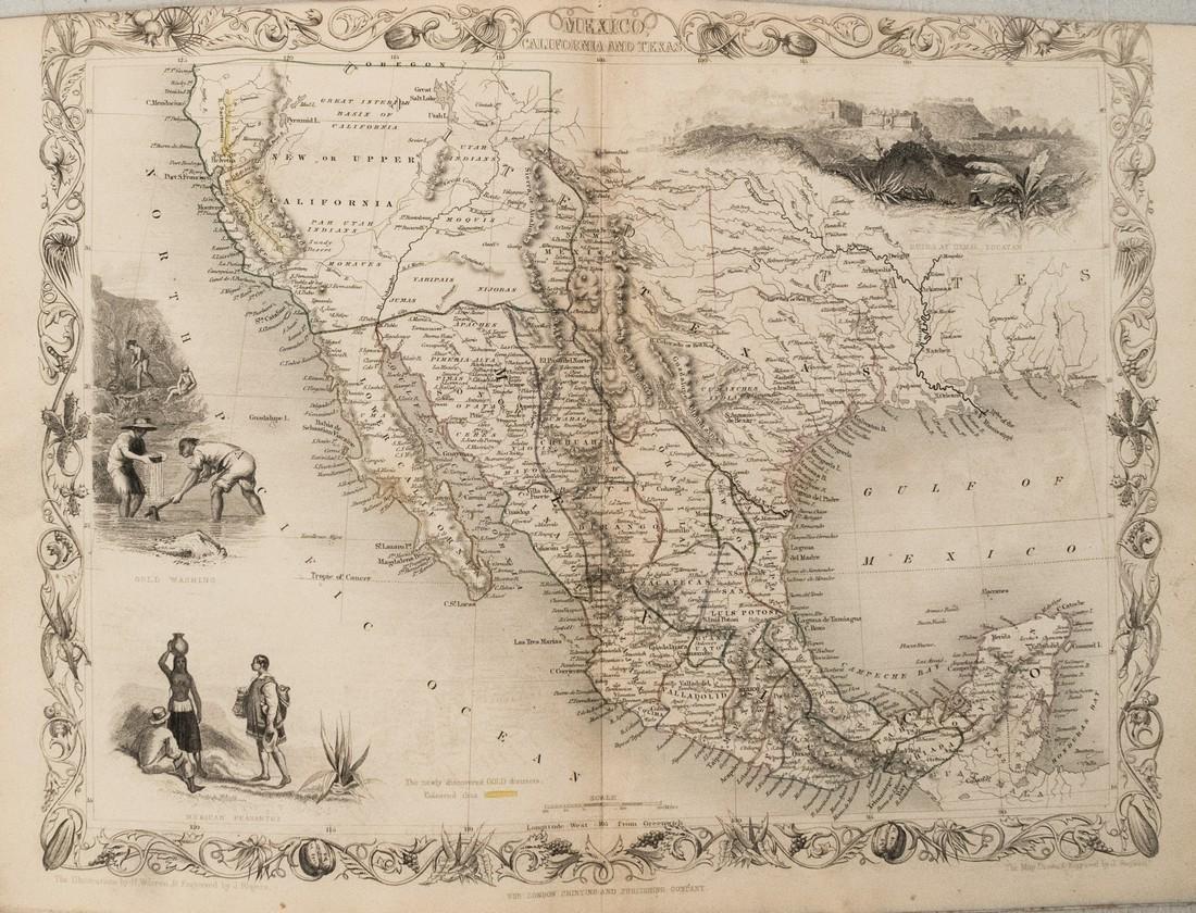 1850 Tallis map of Mexico California During Gold Rush