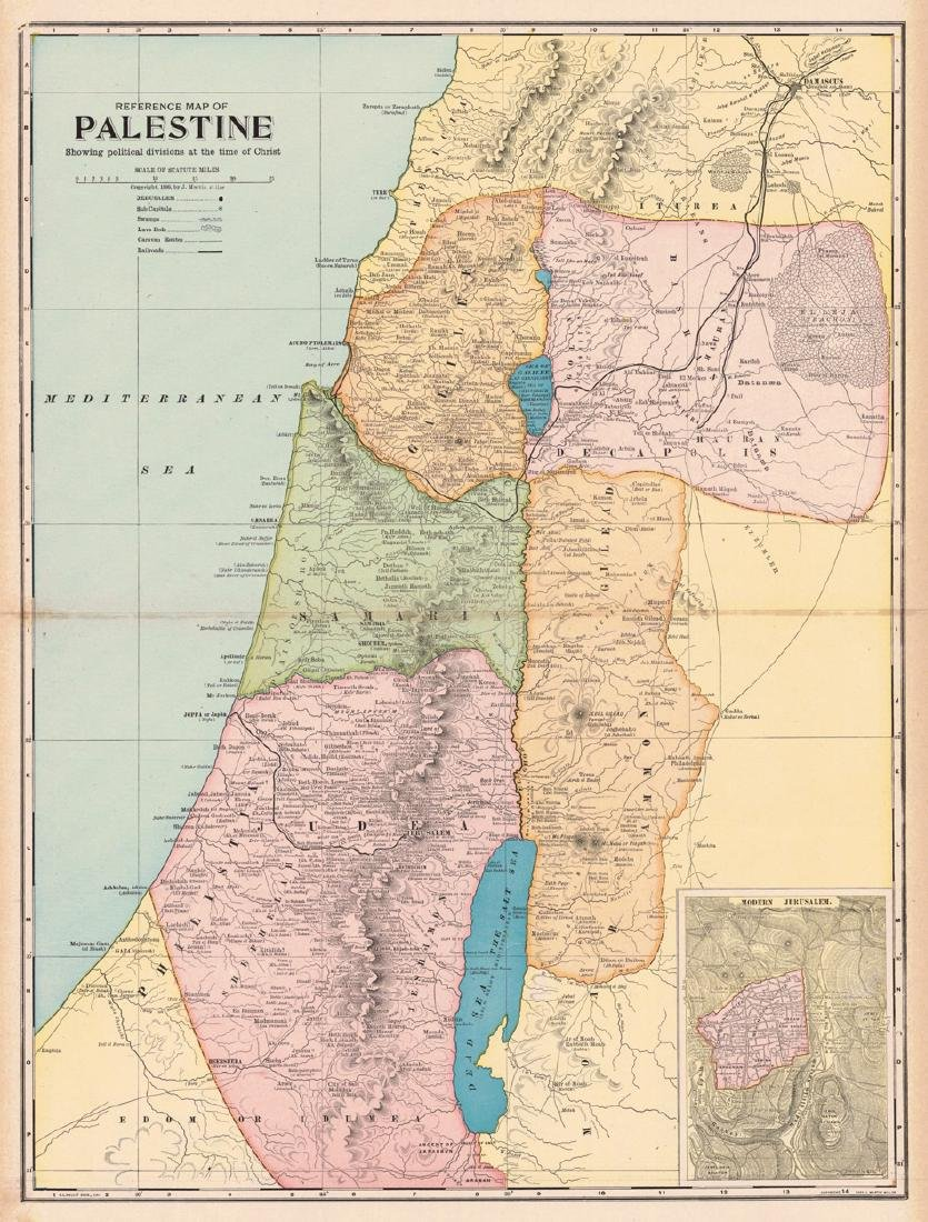 Reference Map of Palestine Showing Political Divisions