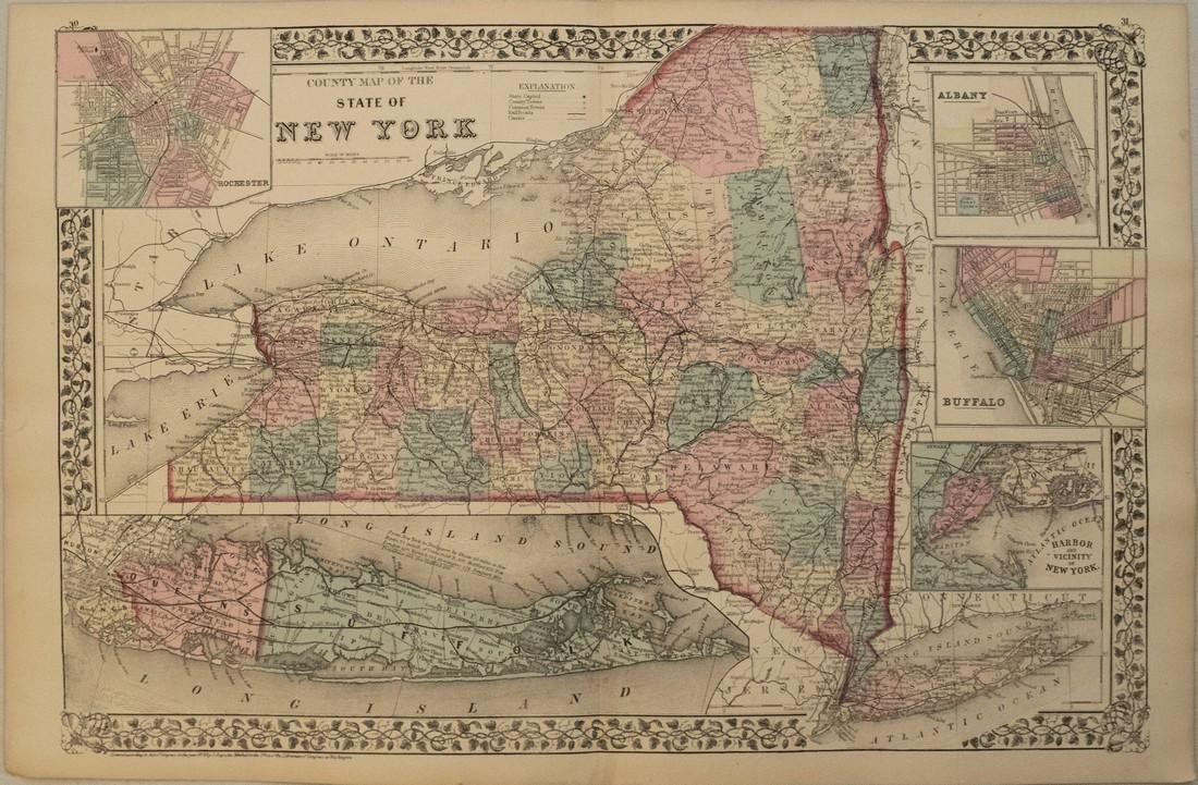1876 Mitchell Map of New York -- County Map of the