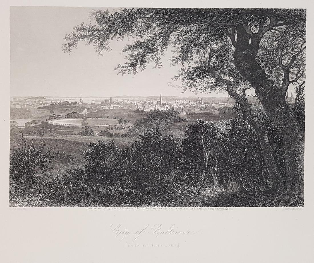 Animated view Baltimore Maryland 1872 Steel etching