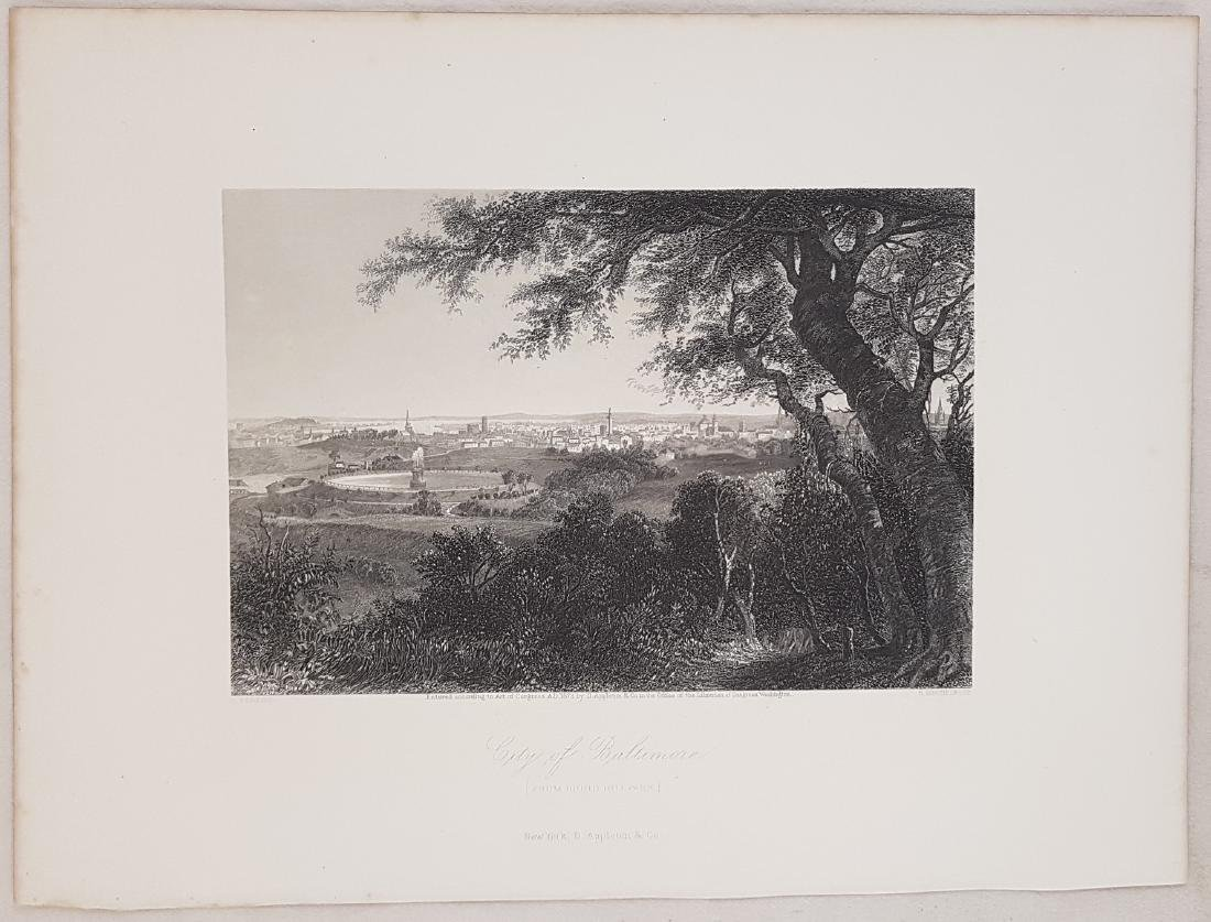 Animated view Baltimore Maryland 1872 Steel etching - 2
