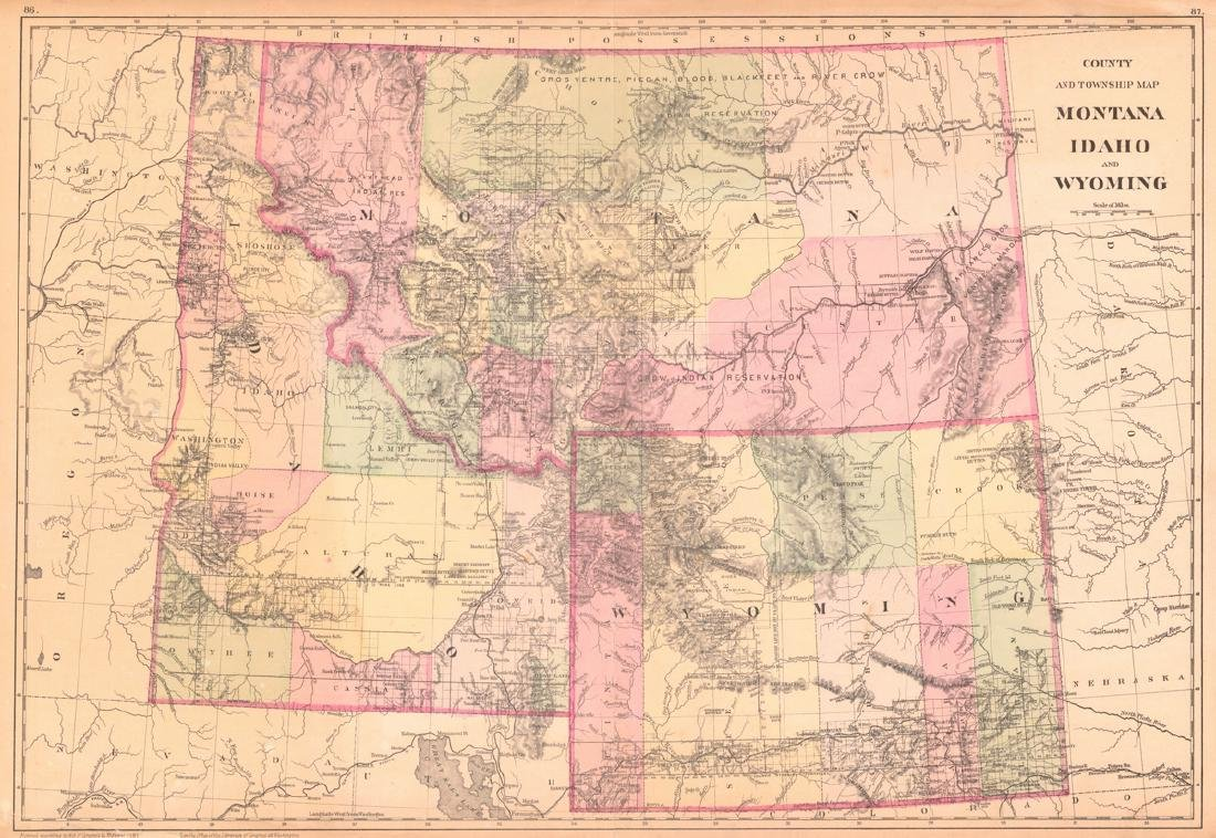 County and Township Map of Montana Idaho and Wyoming