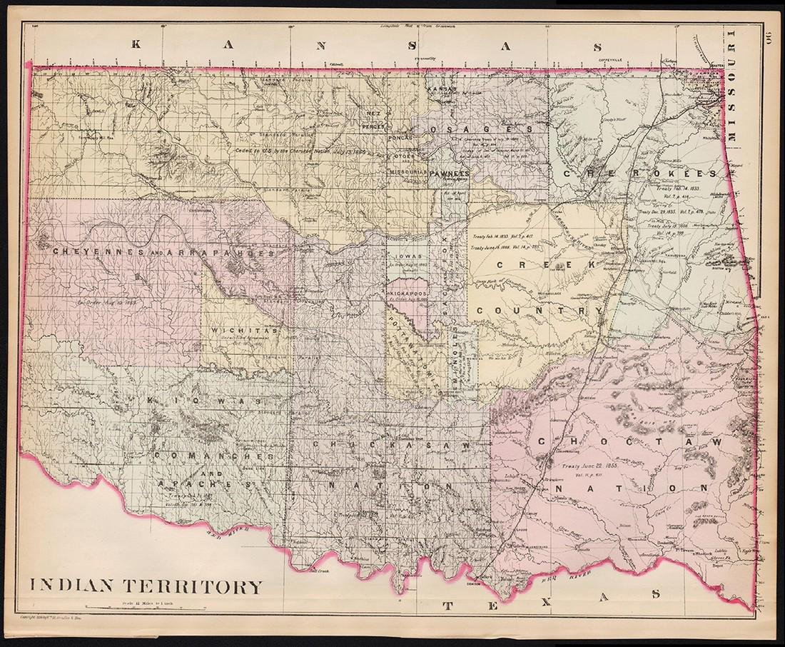 Handcolor map of Indian Territory - 1886