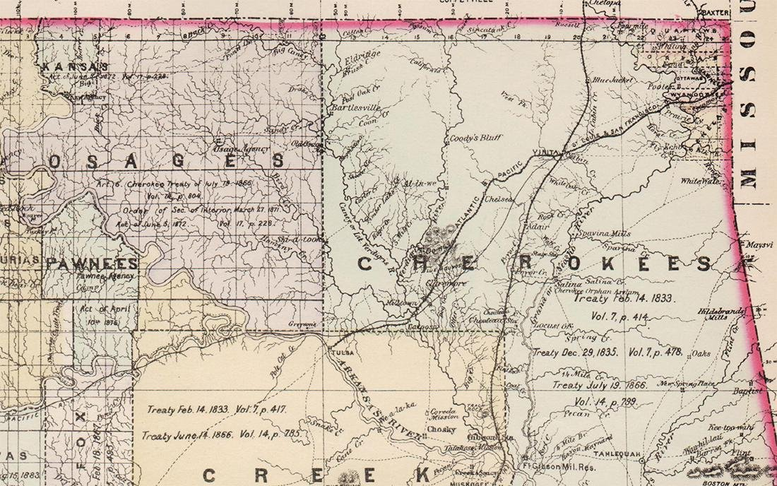 Handcolor map of Indian Territory - 1886 - 3