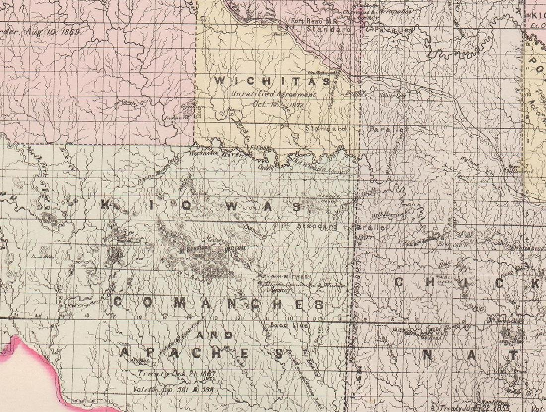 Handcolor map of Indian Territory - 1886 - 4