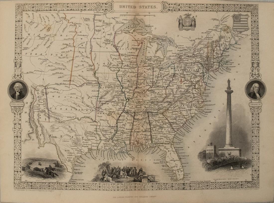 1850 Tallis Map of United States -- United States