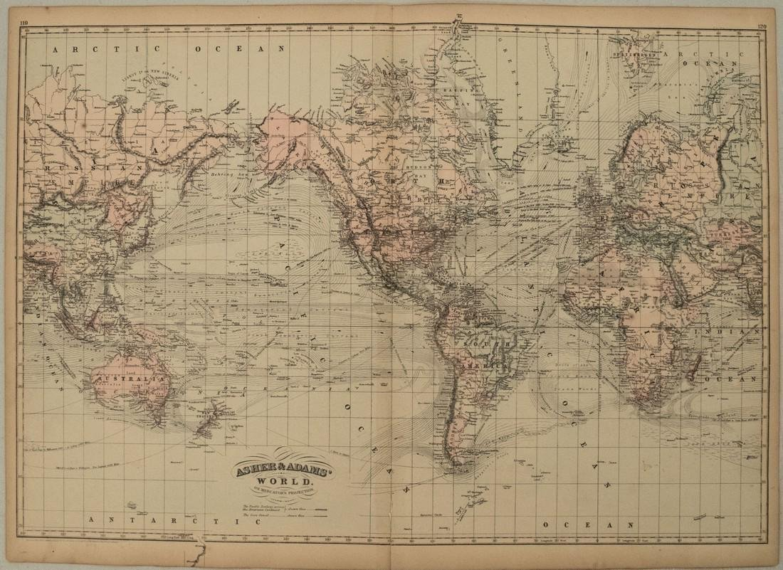 1872 Asher and Adams Map of the World -- Asher & Adams'