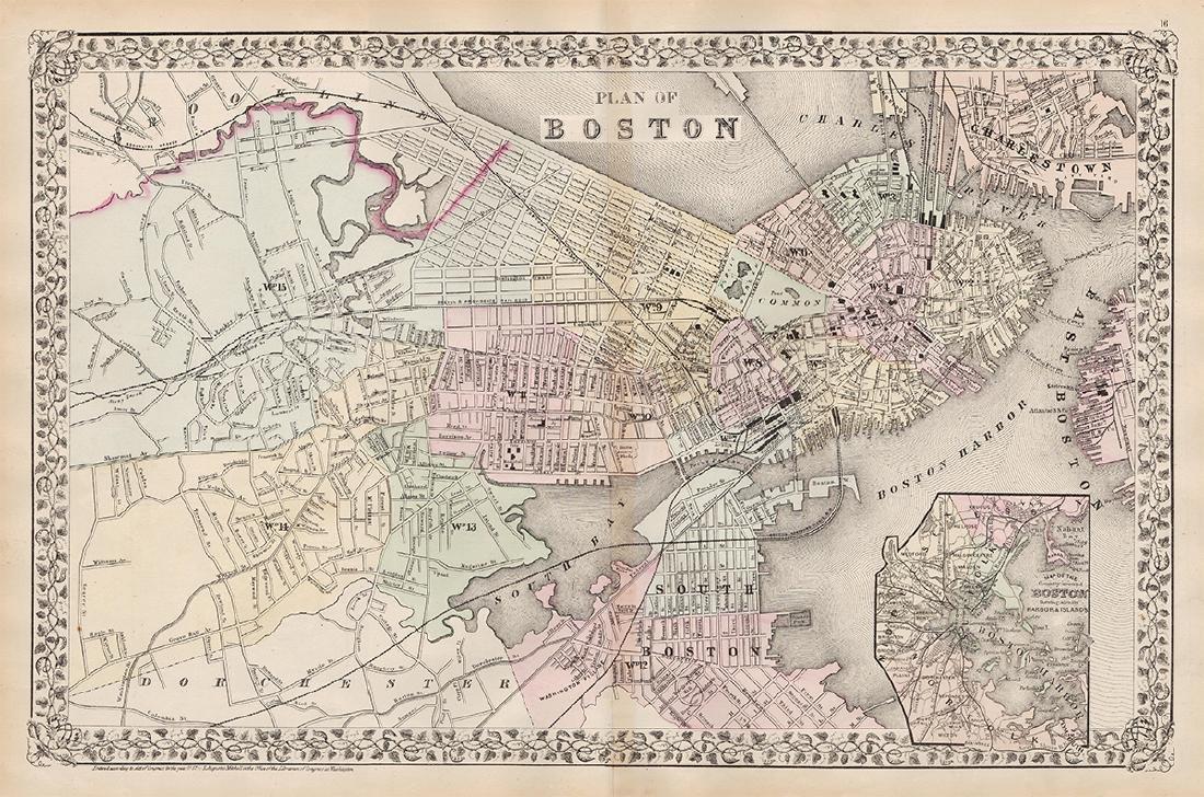2-pg. Plan of Boston, Mitchell 1872