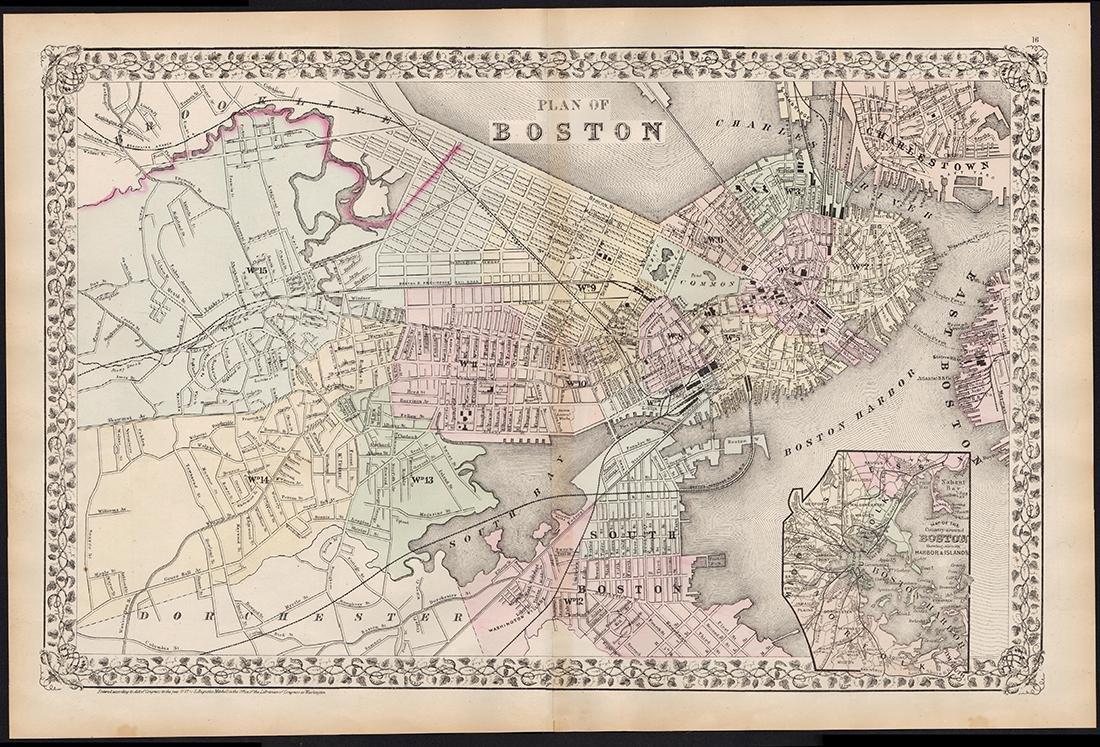 2-pg. Plan of Boston, Mitchell 1872 - 4