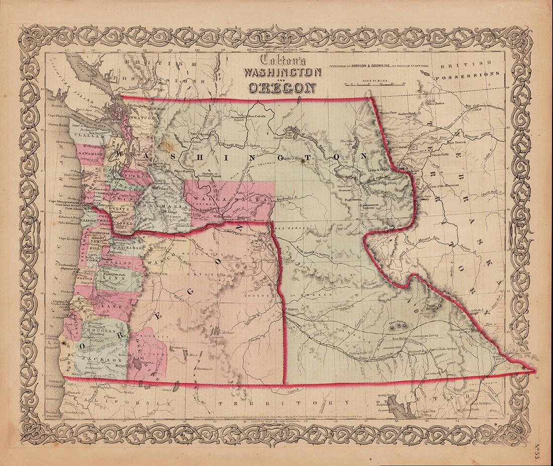 Scarce 1853 map from Colton's 1856 Atlas of the World