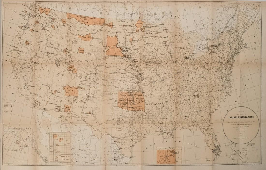 1885 Map of Indian Reservations in the US -- Map
