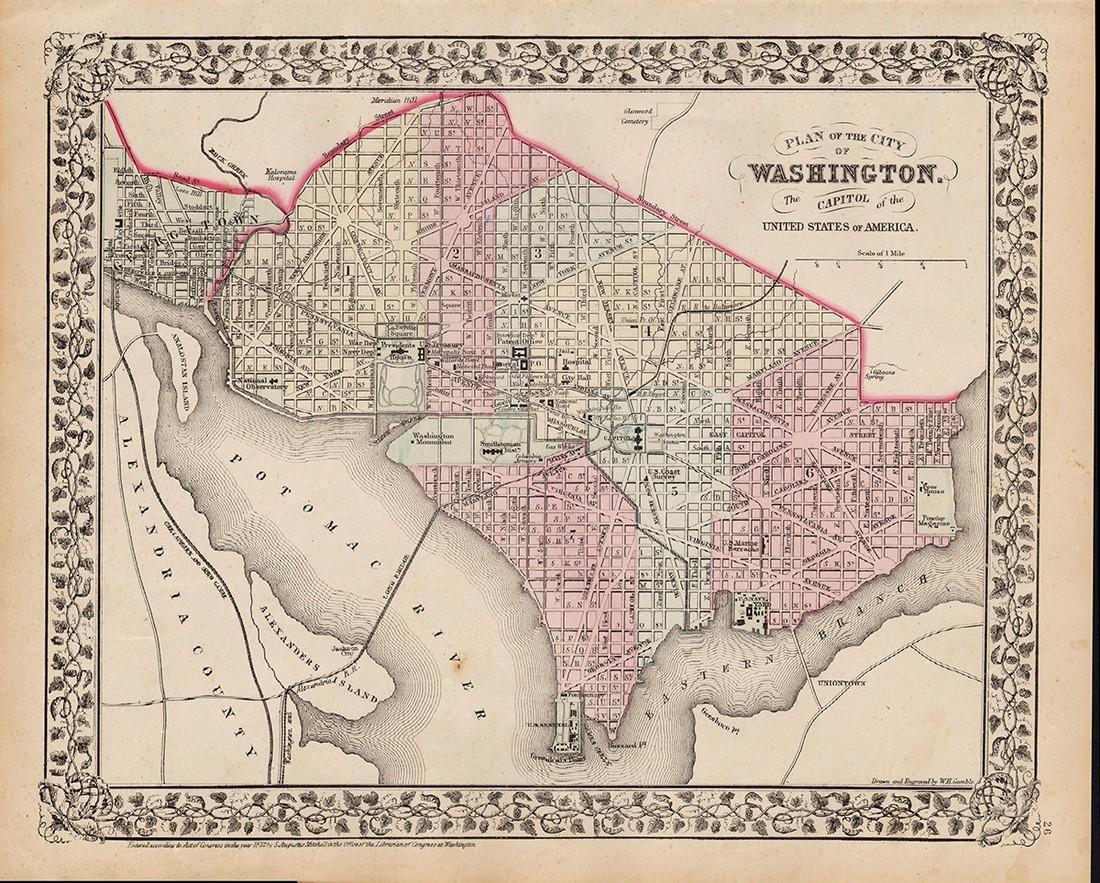 Plan of Washington, D.C., Mitchell 1872