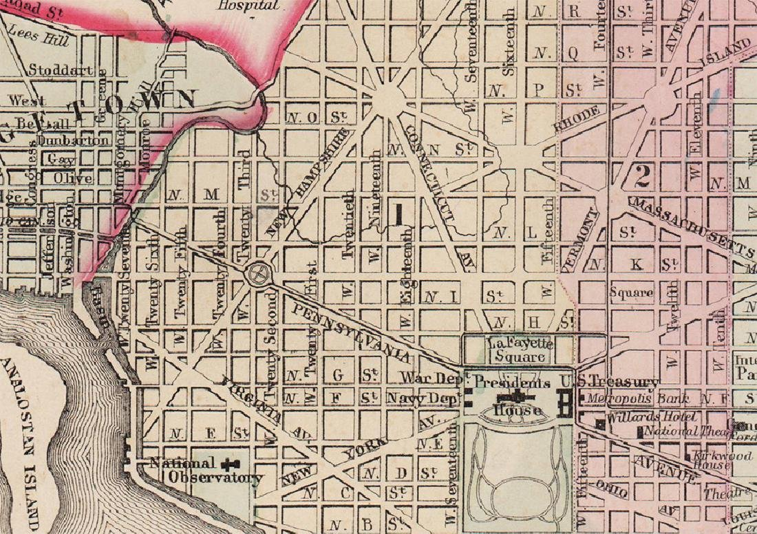 Plan of Washington, D.C., Mitchell 1872 - 3