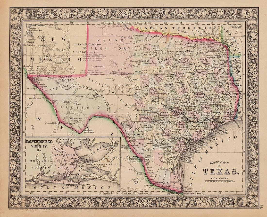 County Map of Texas, S. A. Mitchell, 1860